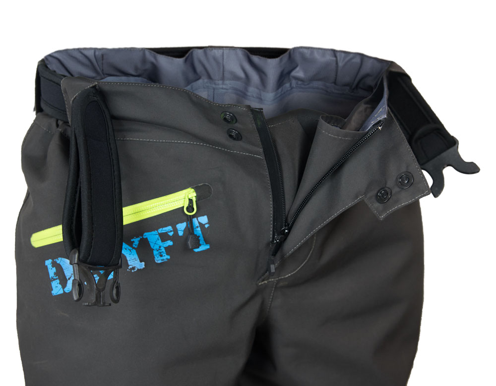 DRYFT Session wading pants fly detail